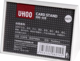 6271-Price Display Card Stand, Small, PS+Acrylic, White, 70x50mm,1Box of 12Pcs